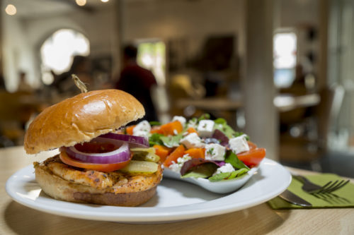 Grilled chicken in a brioche bun with a side of Greek salad